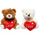 groothandel Poppen & Pluche: pluche beer met hartje, 23cm
