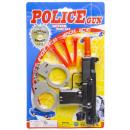 police gun with darts & cuffs, blister card, 17x29