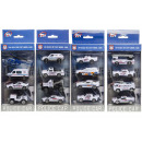die cast Set of 4 policecar, 10,5x21,5x4,5cm - h 4
