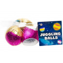 Set of 3 metallic juggle ball net, 4,5cm Ø5,5cm