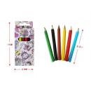 colored pencil Set of 6 short princess, 9x4,5x1cm