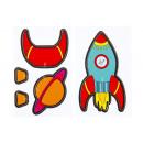 wholesale Bags & Travel accessories: 3d space rocket/planet pp, 10,5x7,5cm - 2 sheet