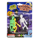 Set of 4 sticky skeleton, blister card, 11x15cm