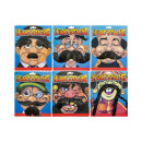 moustache, blister card, 6 times assorted , 18x21,