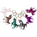 wholesale Gifts & Stationery: key chain sequin unicorn, 7x6,5cm