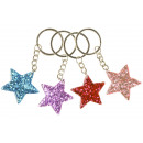 key chain glitter star, 3,5cm