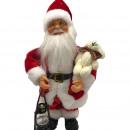 Père Noël 30 cm avec lanterne et ours, chantant,