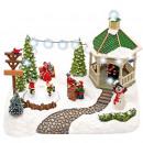 Christmas scene, pergola and children with skate,