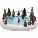 Christmas scene, ice rink with children, musical,