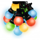 Decorative garland, 10 colored led globes, static