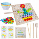 Montessori puzzle with colored wooden beads, acces