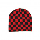 Knitted cap - black / red check