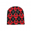 Knitted Hat - black / red diamonds with skulls