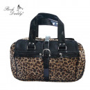 Handbag with faux fur and paint Aplikation in Leo