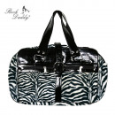 wholesale Handbags: Handbag with faux fur and paint Aplikation in Zebr