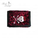 Roter Leopard Geldbeutel mit Totenkopf