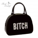 Bag with embroidery in black with white Aufsch