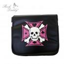 Großhandel Handtaschen: Schultertasche - schwarz mit einem pinken Kreuz