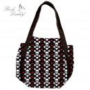 wholesale Handbags: Bag in black with skull, hearts, cherries,