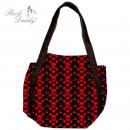 Großhandel Handtaschen: Tasche in schwarz mit roten Totenkopf, Herzen, ...