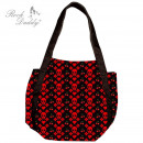 wholesale Handbags: Bag in black with red skull, hearts, Kir