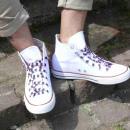 grossiste Chaussure accessoires: lacets rayés en noir / violet