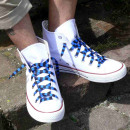 grossiste Chaussure accessoires: lacets rayés en noir / bleu