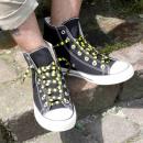 grossiste Chaussure accessoires: lacets rayés en noir / jaune