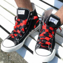 Großhandel Schuhzubehör: Schwarz Rot Gestreifte Schnürsenkel