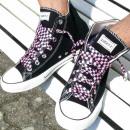 Großhandel Schuhzubehör: Schwarz Pink Karierte Schnürsenkel