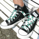 wholesale Shoe Accessories: Laces in white with green hemp leaves