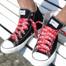 wholesale Shoe Accessories: Laces in pink diamond pattern with skulls