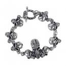 Bracelet in silver with skulls