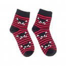 Socks black / red striped with cat and bones