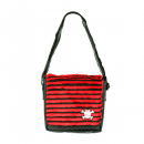 wholesale Handbags: Webpelztasche with black / red stripes and below