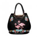 Großhandel Handtaschen: Banned Handtasche - Flamingos und Blumen - Schwarz