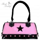 Handtasche mit Stern in pink/schwarz