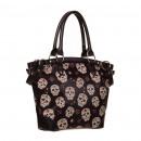 grossiste Sacs à main: 22736-9001 sac à main en noir avec Totenk coloré