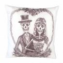 Skeleton wedding couple decorating pillow