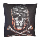 Wild pirate skull head pillow