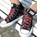 Großhandel Schuhzubehör: Gestreifte Schnürsenkel mit Totenköpfe