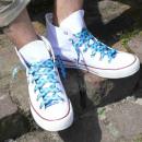 Großhandel Schuhzubehör: Schnürsenkel Blau Gepunktet