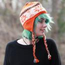 Großhandel Kopfbedeckung: Orangene Schneeflocken Winter Strickmütze