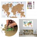 mappa del mondo graffio cartolina