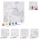 painting canvas to paint 20x20cm, 4- times assorte