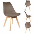 Scandinavian chair with Pillow taupe, 1-f