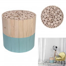 stool two-tone round wood raw and blue, 1-time a
