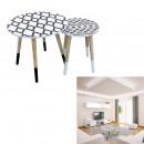 ethnic nesting tables round tray x2, 1-fold