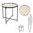 black metal table with patterned mirror