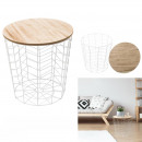 table wired wood and metal white chevron pattern,